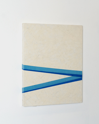 "untitled, 2018, 16""x20"" Masking tape, Lacquer, on wooden panel"
